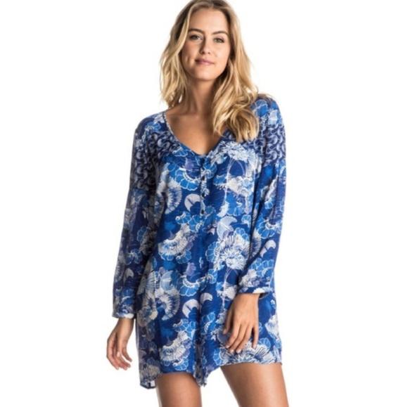 Roxy Pants - Roxy Blue Japanese Floral Long Sleeve Romper 3089
